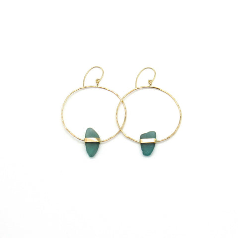 Turquoise and Gold Sea Glass Hoop Earrings