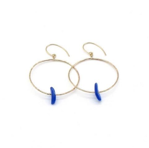 Corn Flower Blue Sea Glass Hoop Earrings