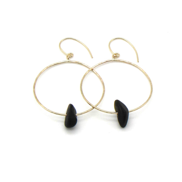 Rare black sea glass hoop earrings with dainty hammered gold