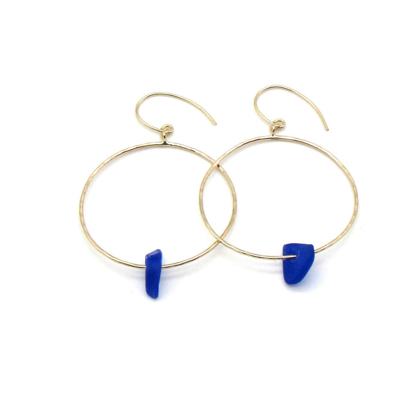 Tyler Earrings | Sea Glass & Gold-Cobalt Blue-Ingrid Caduri Jewelry