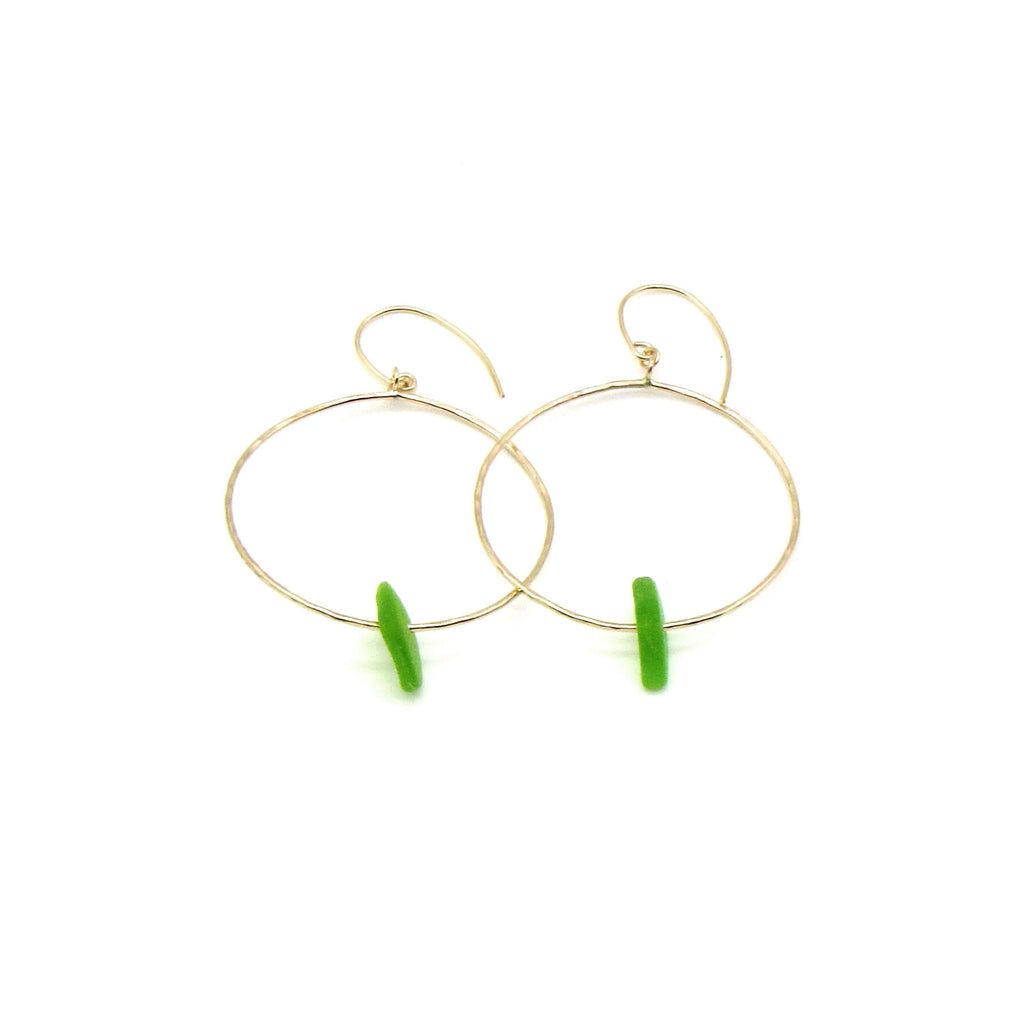Lime green sea glass hoop earrings with dainty hammered gold