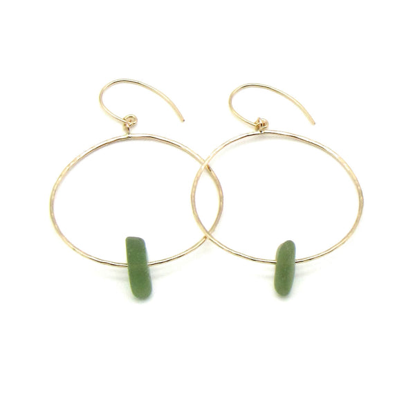 Olive green sea glass hoop earrings with dainty hammered gold