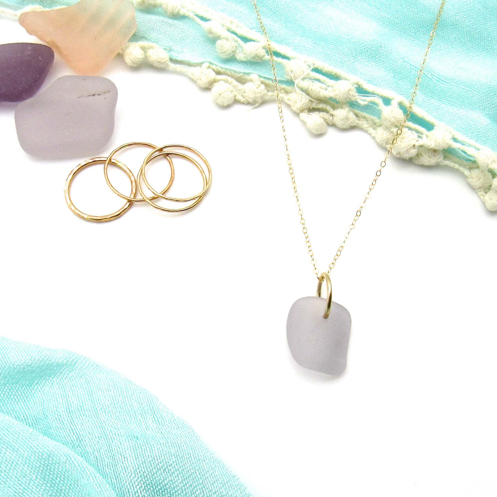 Valentina | Lavender Sea Glass + Gold Necklace