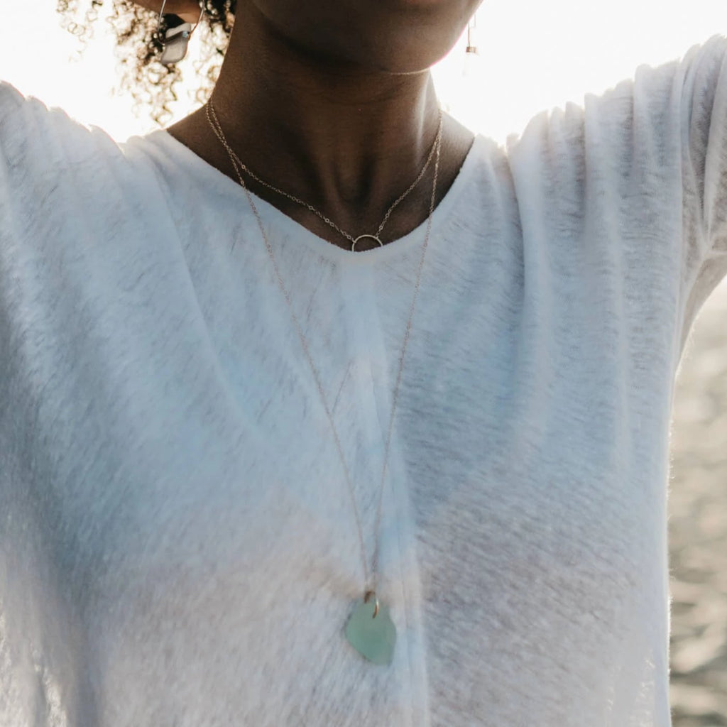 Valentina | Sea Glass + Gold Necklace-27