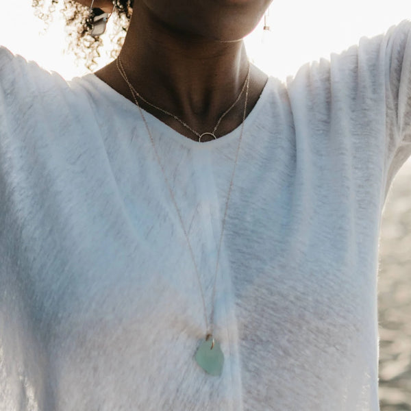 Valentina | Sea Glass + Gold Necklace