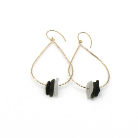 Vera | Sea Glass + Gold Earrings-Deep Olive-Ingrid Caduri Jewelry