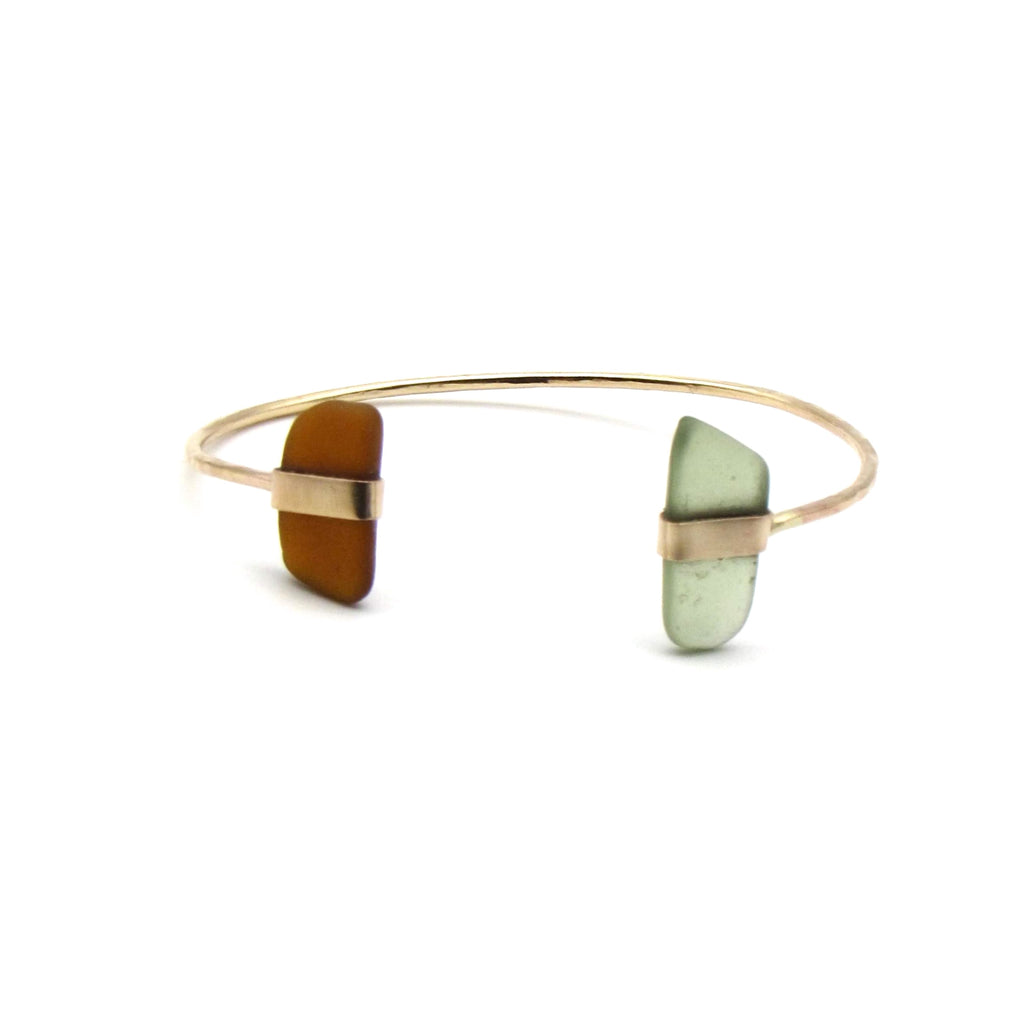 Ying Cuff Bracelet | Moss and Amber Sea Glass + Gold-Ingrid Caduri Jewelry