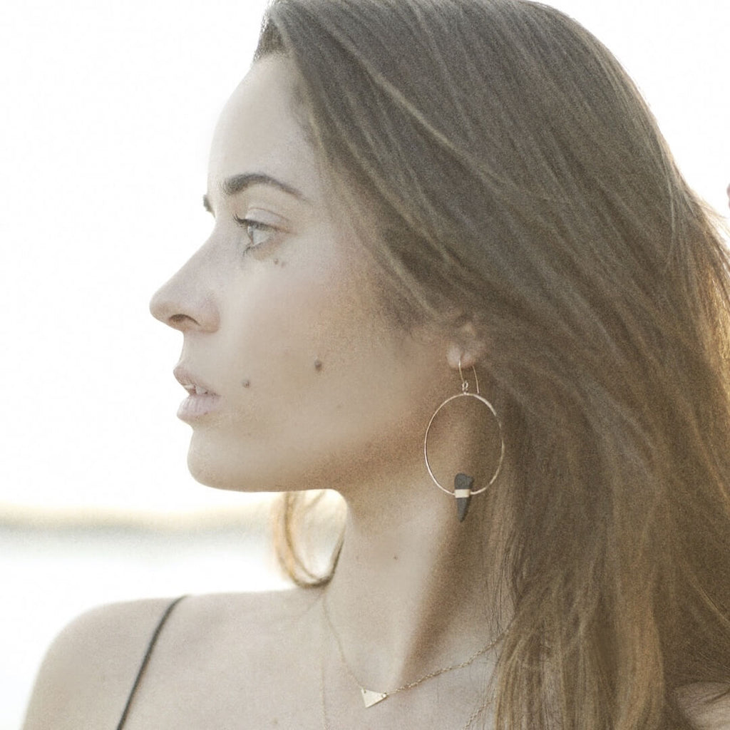 Katie Earrings | Sea Glass + Gold-Dark Olive Green-Ingrid Caduri Jewelry