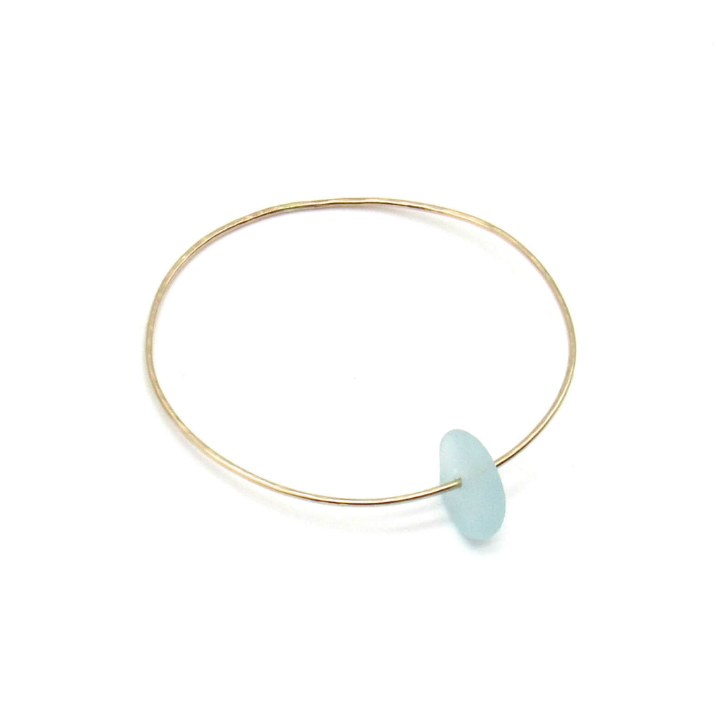 hammered gold bangle bracelet with sea glass