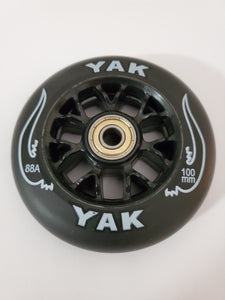 100mm 88a replacement inline skate or scooter wheels with bearings blak on blak
