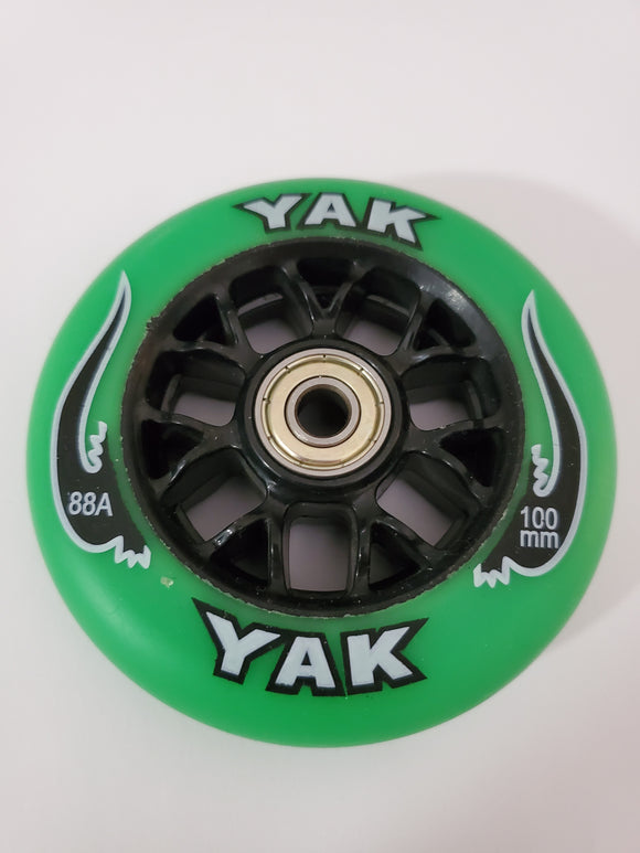 100mm 88a replacement inline skate or scooter wheels with bearings blak wheels green blak w