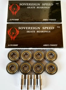 16 pack abec-7 skate bearings with 6mm inline hockey spacers