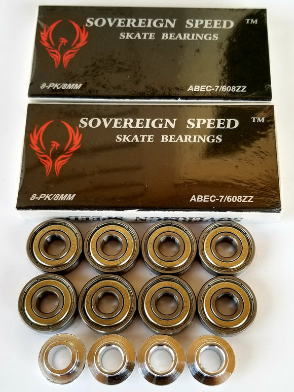 16 pack abec-7 skate bearings with spacers / 8mm floating