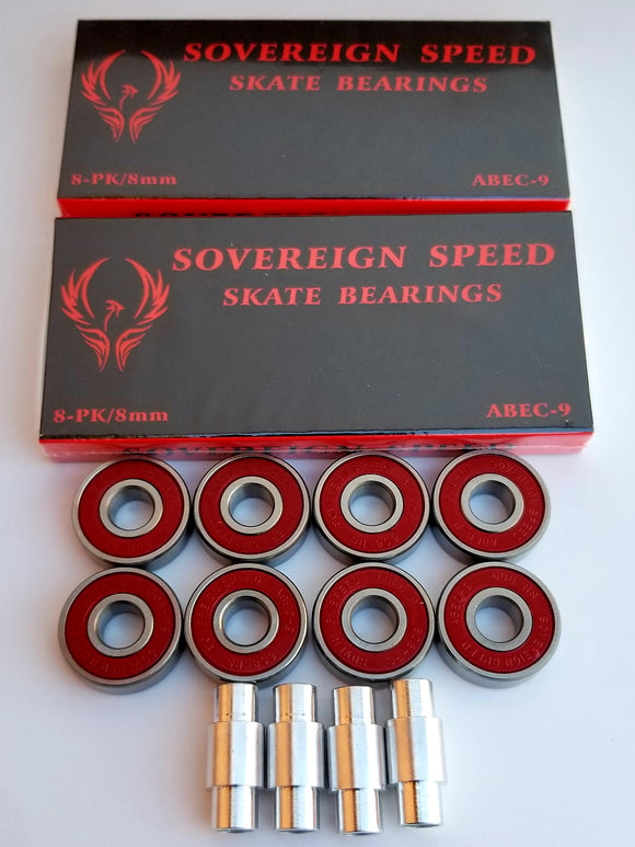 16 pack abec 9 skate bearings with 6mm spacers, hockey rollerblade