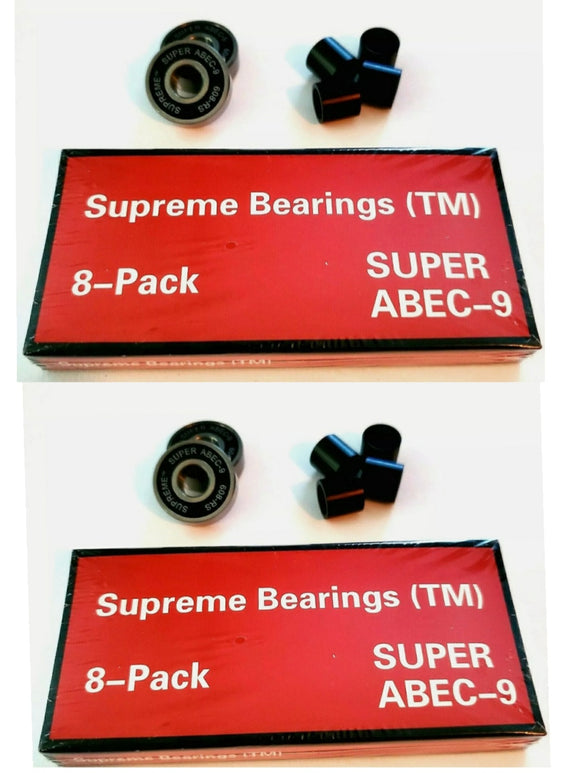 16 Pack Supreme Super ABEC-9 Skateboard Bearings with Spacers  608rs 8mm x22mm x 7mm