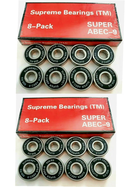 16 Pack Supreme Super ABEC-9 Skate Bearings 608-rs 8mm x 22mm x 7mm