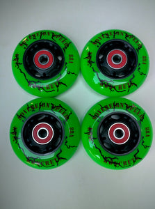 4-Pack 76mm OUTDOOR Inline Rollerblade Skate Wheels with Bearings , roller hockey fitness ripstik