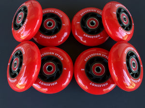 76mm 80mm Hi-Lo Indoor Roller Hockey X-Soft Wheels with Bearings , skate rollerblade 8-pack 74a