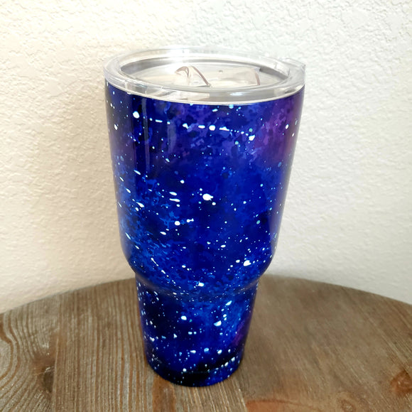 30 oz Tumbler Hot Cold Double Wall Vacuum Insulated travel mug cup thermos purple blue midnight galaxy sky
