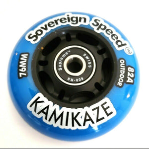 76mm replacement soft outdoor inline skate wheel with bearings , rollerblade hockey fitness