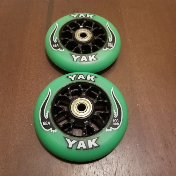 100mm scooter or inline skate outdoor wheels green black 88a