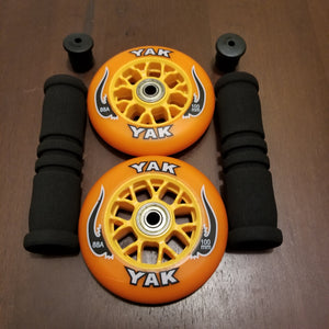 100mm scooter or inline skate outdoor wheels orange black 88a with grips