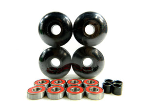 52mm black skateboard wheels with abec-9 bearings and spacers