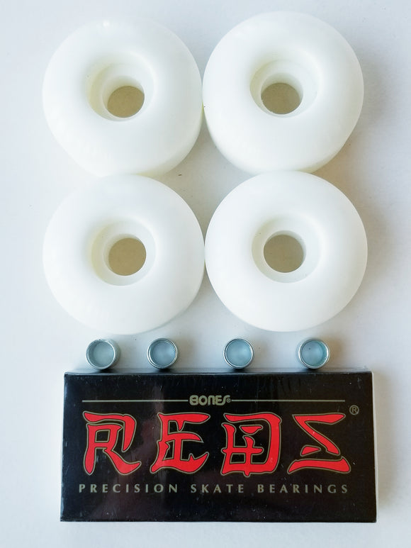 56mm 95a white blank skateboard wheels with 8 pack bones reds skate bearings with spacers outdoor park street
