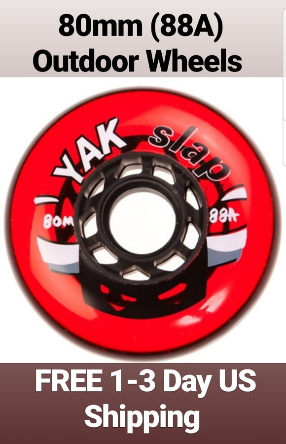 80mm 88A OUTDOOR Inline Skate Wheels, rollerblade/hockey/aggressive 78mm-80mm replacement