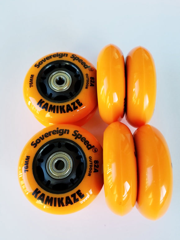 76mm indoor outdoor soft rollerblade wheels with bearings 8-pack fitness hockey