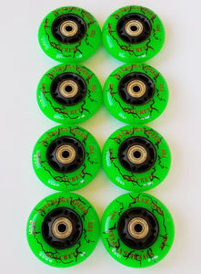 8x HI LO 72mm/76mm/80mm OUTDOOR Inline Skate Wheels with Bearings - Hockey Rollerblade