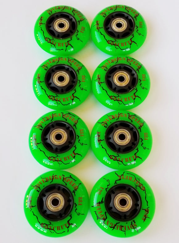 80mm rollerblade wheels with bearings / sovereign speed koncrete