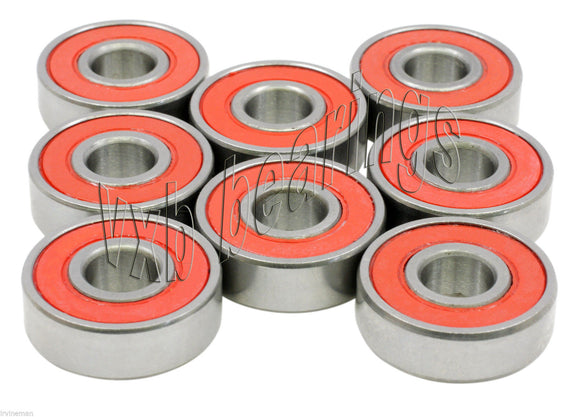 Set of 8 Sealed Speed Skateboard Ball Bearings vxb reds 608rs 8mm