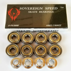 8 Pack Abec-7 skate bearings with 8mm inline hockey spacers