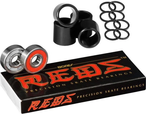 bones reds skateboard bearings with spacers and washer speed rings 8-Pack 608/8mm