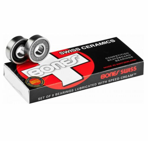 bones swiss ceramics skateboard bearings 8-pack / 608rs 8mm