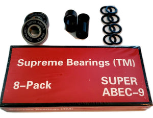 8 Pack Supreme Super ABEC-9 Skateboard Longboard Bearings with Spacers & Washers 608rs 8mm x 22mm x 7mm