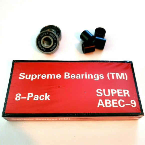 Supreme Super ABEC-9 Skateboard Bearings Set Of 8 Pack longboard roller skate 608rs 8mm x 22mm x 7mm