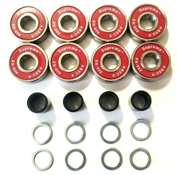 8 pack red supreme abec-9 skateboard bearings with spacers ang speed rings 608rs 8mm roller skate