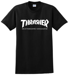 Thrasher Magazine T-Shirt Skateboard Men Skateboarding Skate Board Sk8 Logo Mag Black size small - 2xl