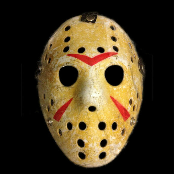 Jason voorhees friday the 13th halloween mask, horror scary yellow dirty