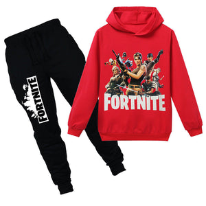 red fortnite hoodie and black pants, save the world   boys