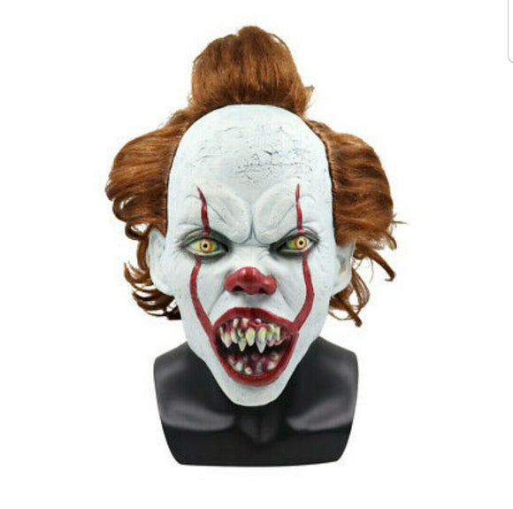 Stephen Kings IT 2 Scary Clown Mask latex with red hair