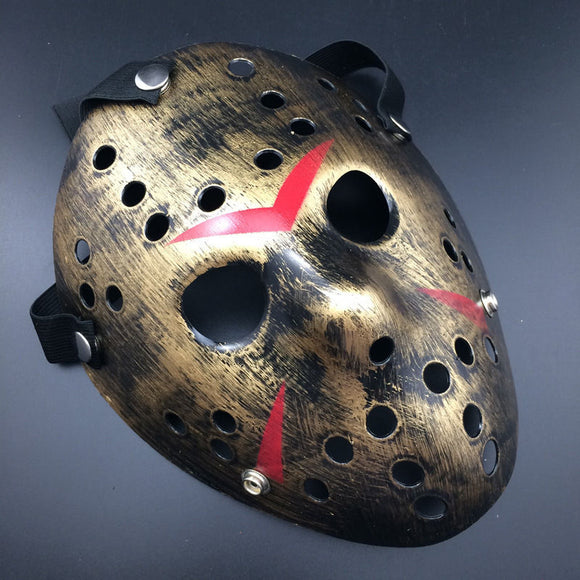 GOLD Jason Voorhees Friday the 13th Halloween Hockey Mask adult teen kids