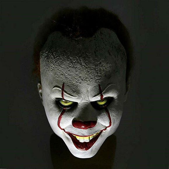 Pennywise IT Scary Clown Halloween Mask, scary horror movie joker cosplay prop latex