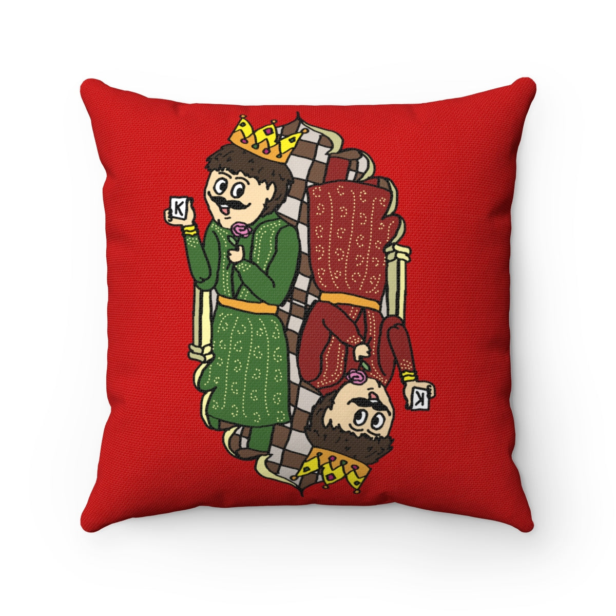 King of my Heart Spun Polyester Square Pillow Case Red