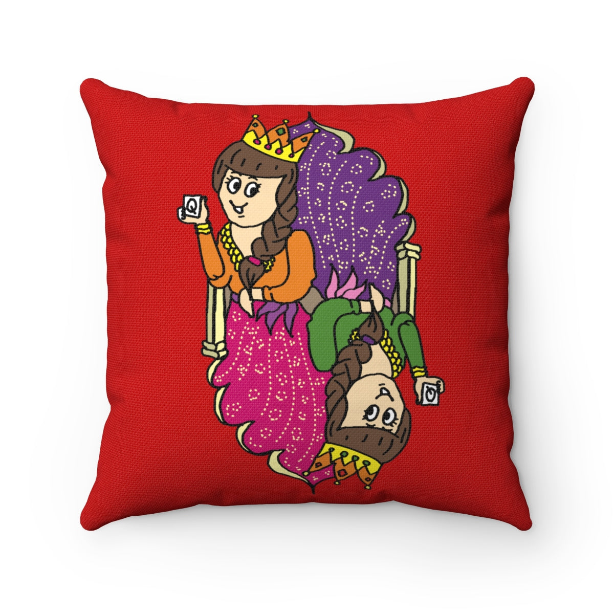 Queen of my Heart Spun Polyester Square Pillow Case Red