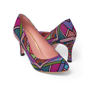 Folk Pop Quilt Pattern Women's High Heels