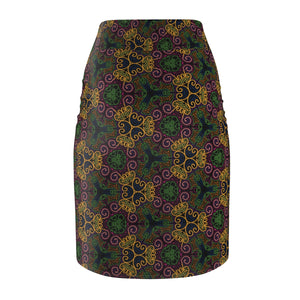 Mehendi henna inspired Women's Pencil Skirt