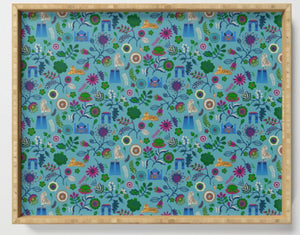 Indian circus Blue Floral Galley Print Serving Tray